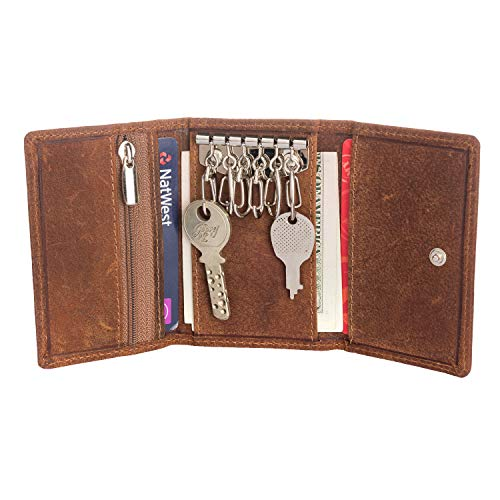 Smart Trifold multi utility wallet with 6 key ring hooks, 3 credit card holder, side zip pocket with a button close & RFID shield.