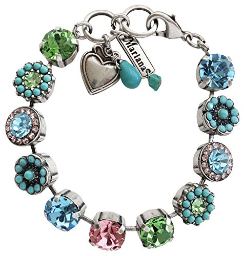 Mariana Silvertone Large Flower Shapes Mosaic Crystal Bracelet, 7'' Summer Fun Multi Color Blue Pink Green 4084 3711 by Mariana