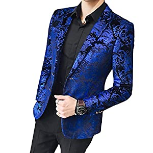 MAGE MALE Men's Dress Party Floral Suit Jacket Notched Lapel Slim Fit Two Button Stylish Blazer
