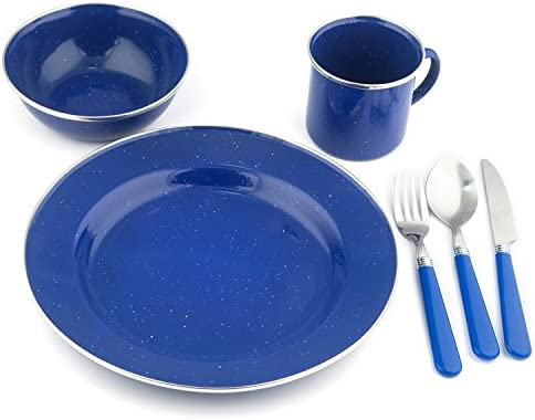 24 Piece Stansport Stainless Steel Enamel Durable Camping Tableware Set Blue