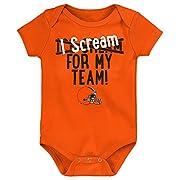 OuterStuff NFL Newborn Team Scream Short Sleeve Onesie-Orange-3 Months, Cleveland Browns