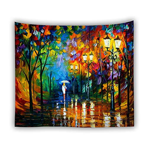 Whim-Wham Colorful Oil Painting Home Décor Tapestry Rainwater Umbrella Street Lamp Looker Bag Modern Nocturne Shake Comfortable for Bedroom Living Room - Nocturne Bedroom
