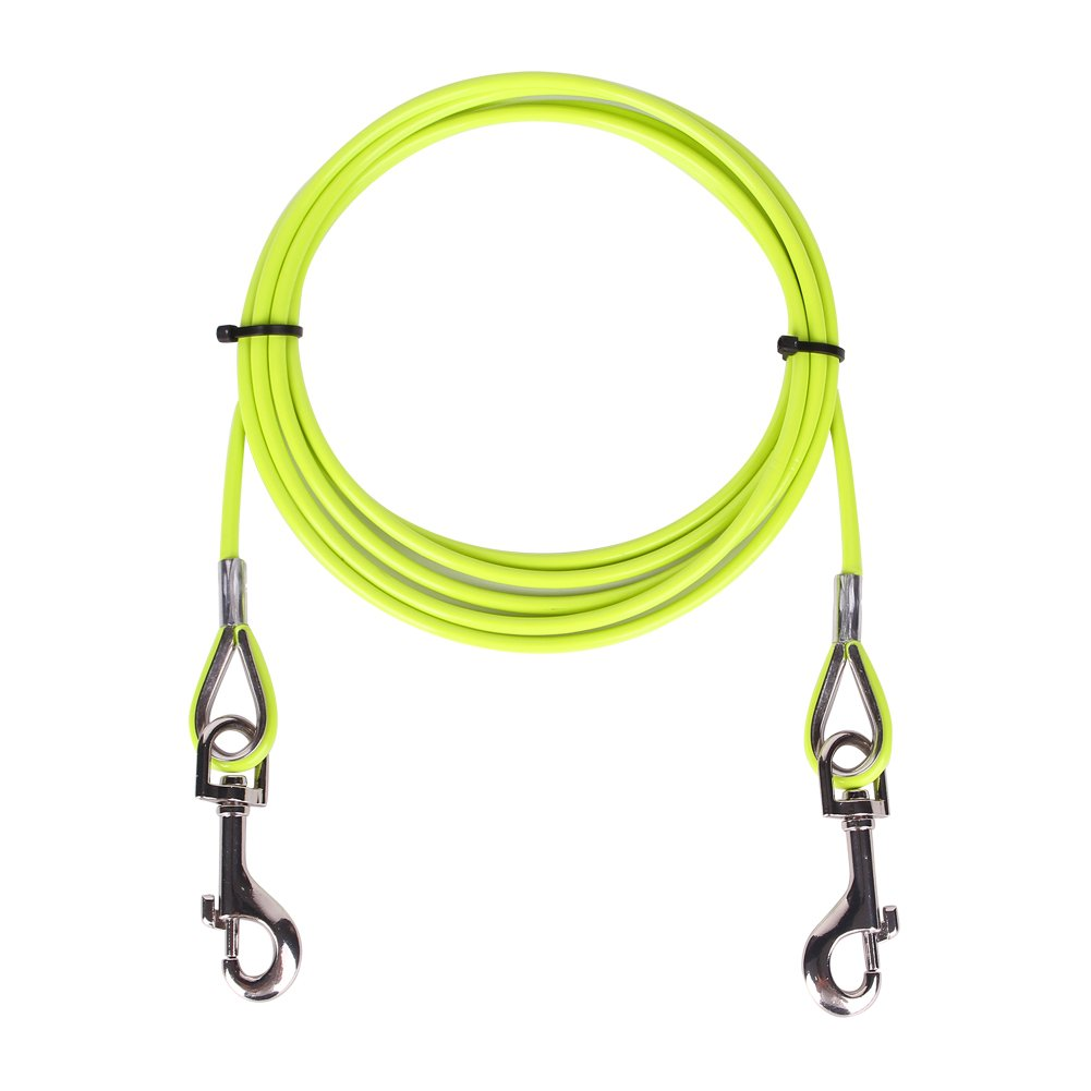 AMOFY 10ft Dog Tie Out Cable - Galvanized Steel Wire Rope with PVC Coating for Small to Medium Pets Up to 60 lbs Yellow Green by AMOFY
