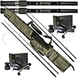 OAKWOOD 12ft 2.5tc Rods x 2 & Double Handle Bait Runner Reel x 2 & Carp holdall, Fishing Set