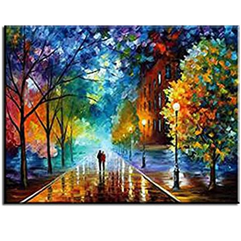 Rihe Paint By Numbers Kits Mounted on Wood Frame with Brushes and Paints for Adults Children Seniors Junior DIY Beginner Level Acrylics Painting Kits on Canvas-Romantic Street 16x20 (Acrylic Paint Beginner)