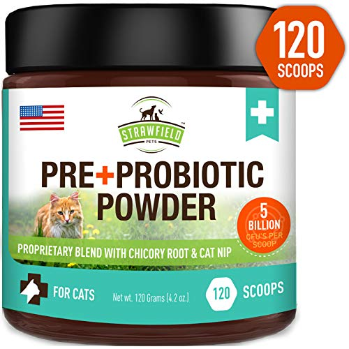 Probiotics for Cats + Prebiotic, Catnip - 120 Grams 5 Billion CFUs 20 Strains, USA - Natural Cat Probiotic Powder Supplements for Digestive Health, Immune Support Diarrhea Allergy Relief UTI - Catnip Liver Treat