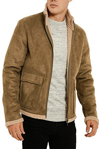 sintético forro aviador Para abrigo chaqueta Threadbare de tóner Borg invierno con de ante de Tostado hombre Dmv076pkb CUwqzUS