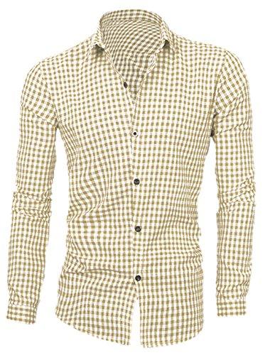sourcingmap Hombre Botonadura Simple Manga Larga Cuello De Punto Escocesa Estampado Camisas Camisa De Cuadros Vichy Caqui