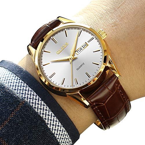Dress Brown Dial (Mens Dress Wrist Watches,Classic Casual Watches for Men,Men's Luxury Business Quartz Watch with Date and Day White Dial Brown Leather Watch,Rose Gold Mens Watches(Luminous-Silver))