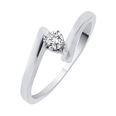 Diamond Wedding Band in 10K White Gold G-H,I2-I3 1//8 cttw, Size-3.5