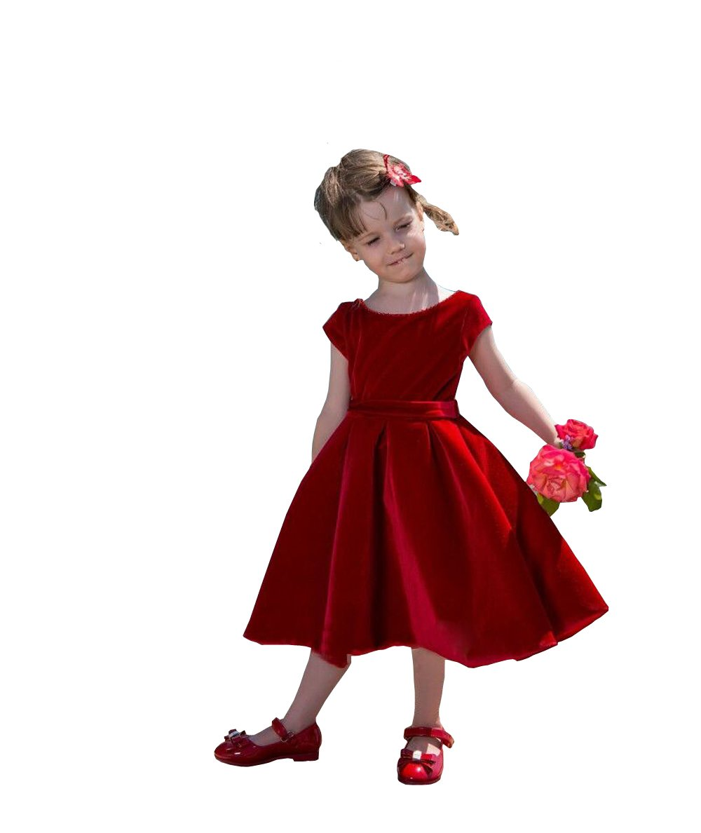 Banfvting Velvet Mid Length Girls Pageant Dress Toddler Gown with Bow