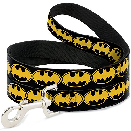 "Buckle Down Pet Leash - Bat Signal-3 Black/Yellow/Black - 6 Feet Long - 1"" Wide"