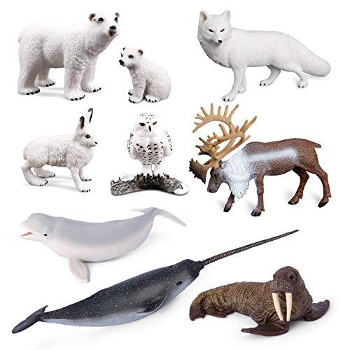 Volnau Sea Creature Toys 9PCS Arctic Circle Ocean Sea Animal Figurines for Toddlers Kids Christmas Birthday Gift Plastic Fish Toys Figures Preschool Pack and Bath Sets Polar Bear