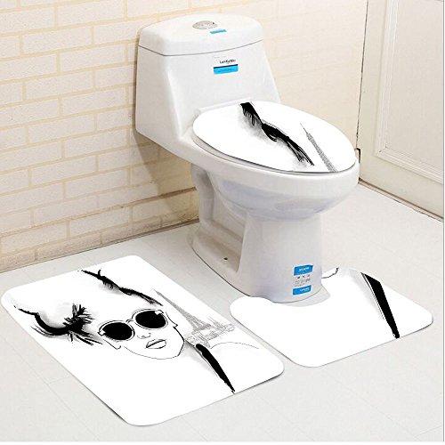 Keshia Dwete three-piece toilet seat pad customFashion Sketch of Pretty Model with Sunglasses in Paris Eiffel Tower Romantic Black - Model Doctor Sunglasses Who