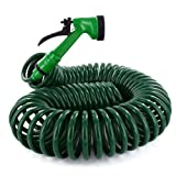New 50ft Retractable Extending Coil Garden Hose Pipe 5 Function Water Spray Gun Shopmonk