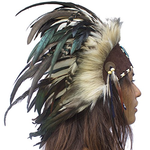 Unique Feather Headdress- Native American Indian Inspired- Handmade by Artisan Halloween Costume for Men Women with Real Feathers - Black with (Gypsy Costume Man)