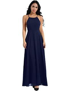 581aa680b04 IEFIEL Maxi Robe Femme de Cocktail sans Manches Bretelle Élégant Robe  Demoiselle d honneur Dos