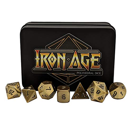 Antique Gold Polyhedral Metal Dice Set - Set of 7 RPG Dice - by Iron Age (Antique Box Iron)