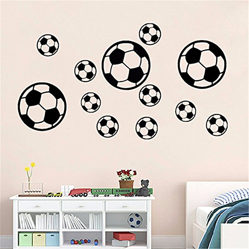 dds5391 12pcs/set football soccer pvc wall art sticker decal boys bedroom home decor