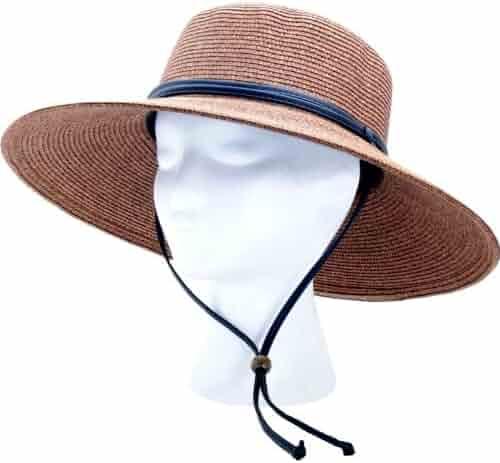 Sloggers Women's  Wide Brim Braided Sun Hat with Wind Lanyard - Dark Brown -  UPF 50+  Maximum Sun Protection, Style 442DB01