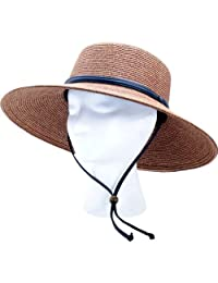 Principle Plastics Sloggers 442DB01 Women's Wide Brim Braided Sun Hat with Wind Lanyard-Dark Brown-Rated UPF 50 Plus Maximum Protection