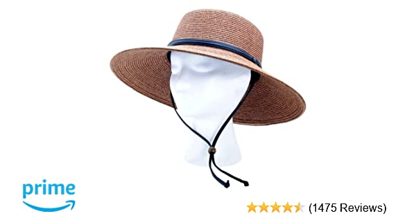 Amazon.com  Sloggers Women s Wide Brim Braided Sun Hat with Wind Lanyard -  Dark Brown - UPF 50+ Maximum Sun Protection 1cd5a784384e