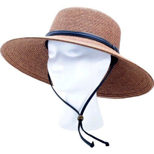 Sloggers Women's Wide Brim Braided Sun Hat with Wind Lanyard - Dark Brown - UPF 50+ Maximum Sun Protection, Style 442DB01