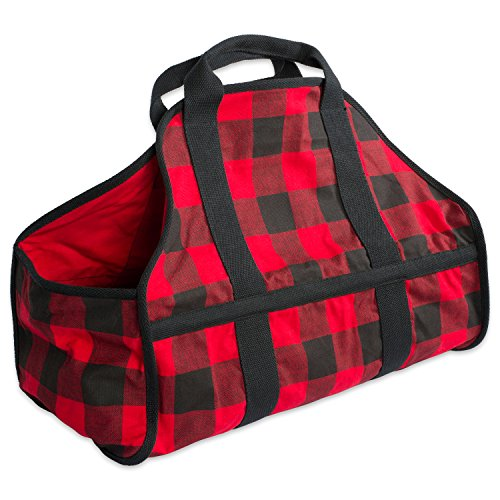 DII Cotton Heavy Duty Canvas Firewood Log Carrier Tote Bag, 22 x 16.5 x (Log Cabin Canvas)