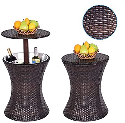 Rattan Coffee Table Ice Cooler Drinks Cooling Bar Outdoor Patio Garden Furniture