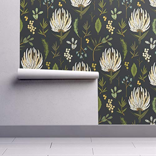 Peel-and-Stick Removable Wallpaper - Protea Modern Botanical Floral Dark Grey Cotton Protea Floral by Holli Zollinger - 12in x 24in Woven Textured Peel-and-Stick Removable Wallpaper Test Swatch from Spoonflower
