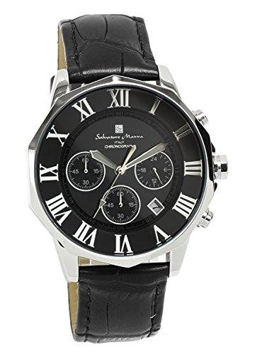 Salvatore Marra Men's Quartz Analog Chronograph 10BAR Leather band Calendar Watch by Salvatore Marra