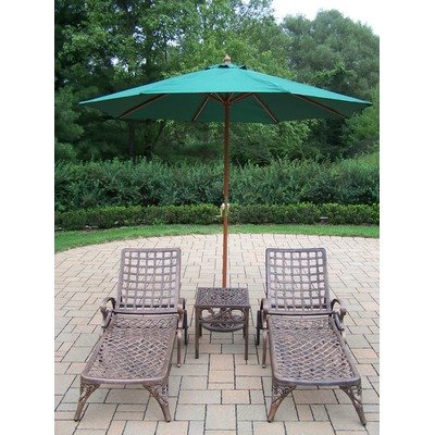 Oakland Living Elite Cast Aluminum 2 Chaise Lounges with 18-Feet Side Table and 9-Feet Green Umbrella and Stand