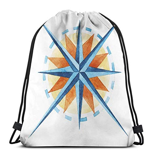 2019 Funny Printed Drawstring Backpacks Bags,Watercolor Directions North South East West Windrose Pathfinding Work Of Art,Adjustable String Closure -