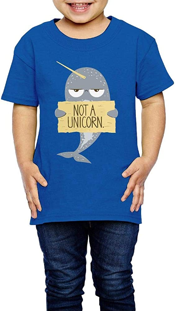 Cute Narwhal Not A Unicorn Printed 2-6 Years Old Kids Short-Sleeved Tshirt