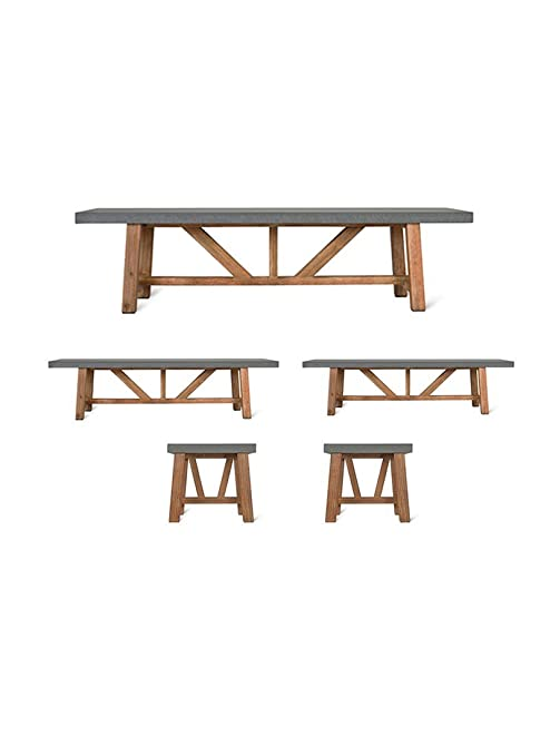 Sensational Garden Trading Chilson Table And Bench Set Small Cement Creativecarmelina Interior Chair Design Creativecarmelinacom