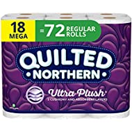 Quilted Northern Ultra Plush Toilet Paper, 3 Ply Bath Tissue, Mega Rolls, 18 Count of 284 Sheets Per Roll