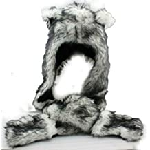 Grey Gray Wolf Anime Faux Animal Hood Hoods Mittens Gloves Scarf Spirit Paws Ears