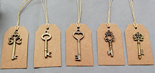SL crafts Mixed 100pcs Skeleton Keys & 100 pcs Kraft Tags Antiqued Brass Bronze Charms Pendants Wedding Favor 34mm-68mm by SL crafts (Image #4)