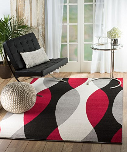 Rio QP-LNPH-4MSK Summit 311 Grey Red Black White Area Modern Abstract Rug Many Sizes Available  (5' x 7'.2