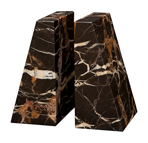 Designs by Marble Crafters Tapered Style Black & Gold Marble Bookends