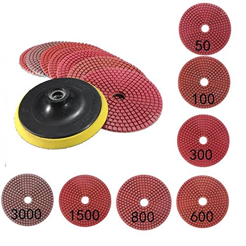 Self Adhesive Disk - Pink Lizard 8pcs 5Inch 50-3000 Grit Wet Dry Diamond Polishing Pads Set with Self-Adhesive Disc Polishing Tool