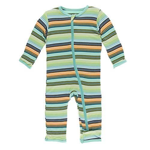 Kickee Pants Cancun Print Coverall with Zipper - Cancun Glass Stripe, 9-12 Months ()