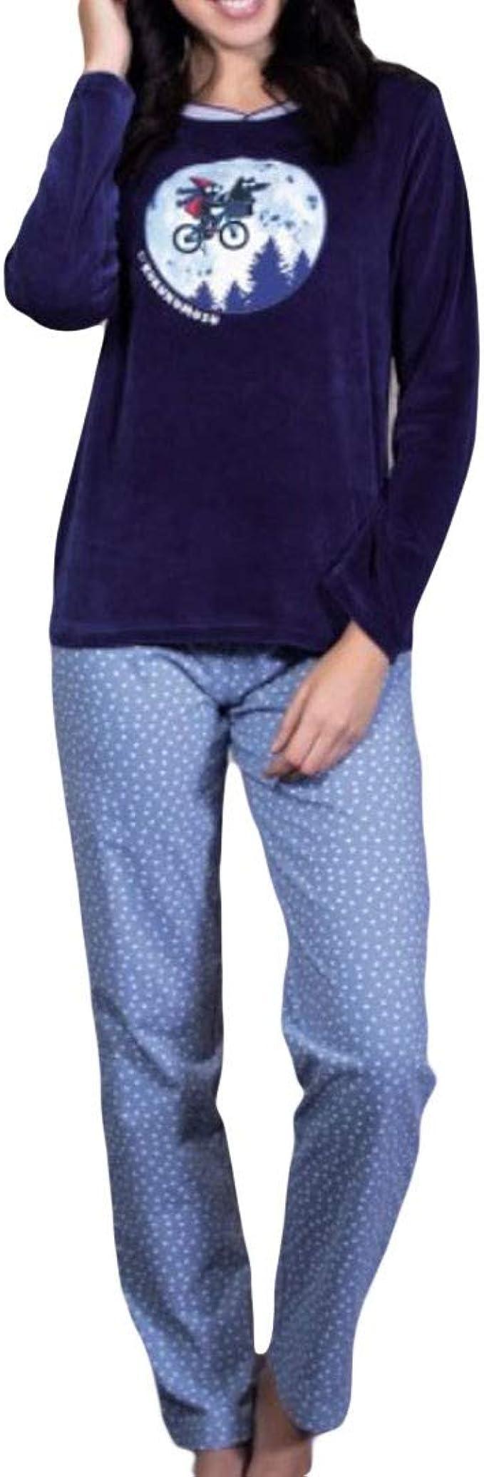 Kukuxumusu - Pijama Mujer Terciopelo Mujer Color: Marino ...