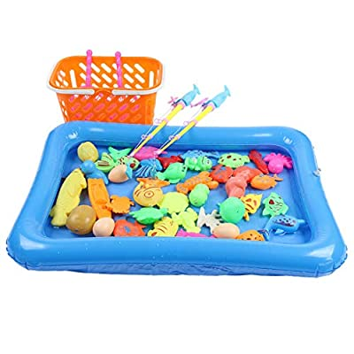 N/X Magnetic Fishing Toys Game Set for Kids Water Table Bathtub Kiddie Pool Party 48pcs Funny Baby Bath Toy Set Game Gift in Bathtub Bathroom Time for Kids Toddler Boys Girls: Home & Kitchen