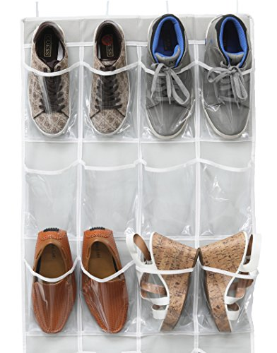 Simple Houseware 24 Pockets Large Clear Pockets Over The Door Hanging Shoe Organizer, Gray (56