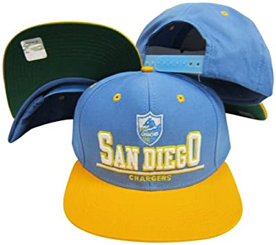 Reebok San Diego Chargers Blue/Yellow Two Tone Plastic Snapback Adjustable Plastic Snap Back Hat/Cap