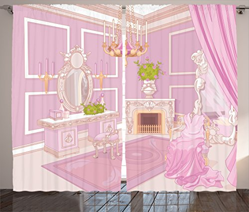 Ambesonne Teen Girls Decor Collection, Princess Dressing Room in Palace Luxurious Design with Chandelier Fireplace Design Print, Living Room Bedroom Curtain 2 Panels Set, 108 X 90 Inches, Pink