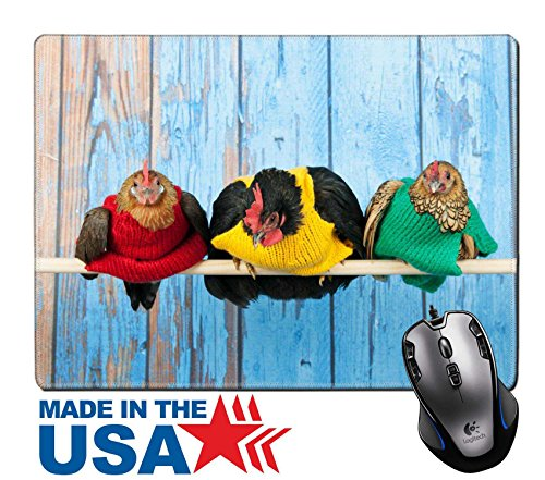 """Price comparison product image MSD Natural Rubber Mouse Pad/Mat with Stitched Edges 9.8"""" x 7.9"""" IMAGE ID 26614297 Row chickens with colorful sweaters in blue henhouse on stick"""