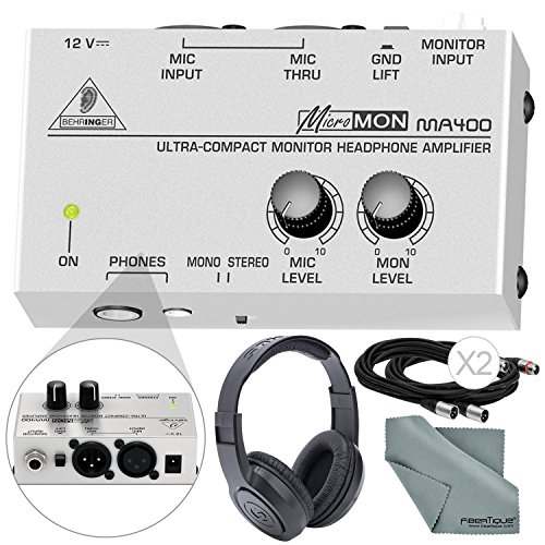 Behringer MICROMON MA400 Compact Monitor Headphone Amplifier with Microphone Input and Accessory Bundle w/ Closed-Back Headphones + More by Photo Savings