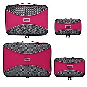 PRO Packing Cubes - 4 Pc Lightweight Travel Packing Cube Set - Organizers and Compression Pouches System for Carry-on Luggage Accessories, Suitcase and Backpacking. Small, Medium & Large( x4 Hot Pink)